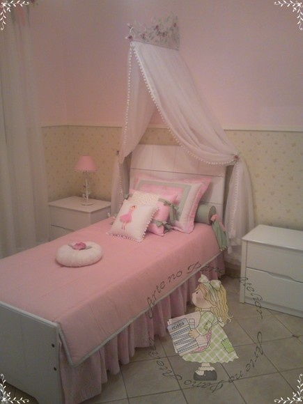 Mosquiteiro para  Dossel  Reto de Cama: Para Dossel, Room, Mosquiteiro Para, Decorativo Dossel, Girls Nurseries Bedrooms, Cama Dossel, Dossel Reto, Mosquiteiro Decorativo, Girls Nurserybedroom