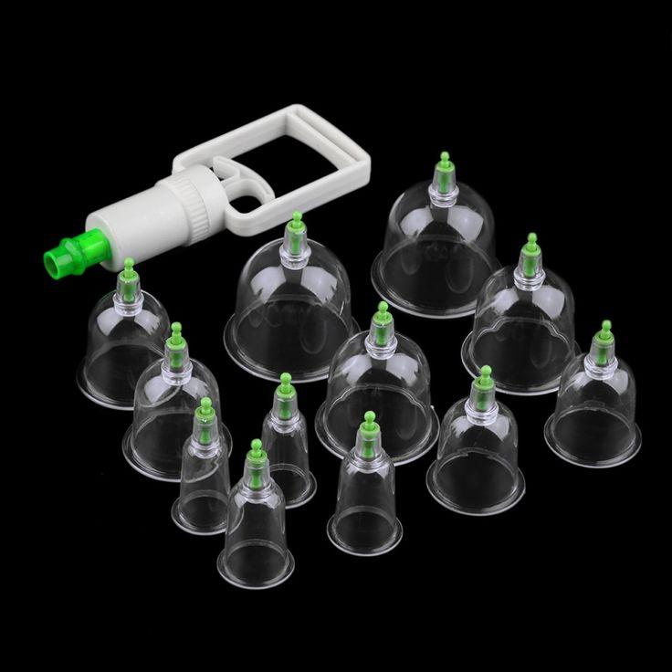 Efektif Sehat 12 Cangkir Vacuum Medis Bekam Hisap Perangkat Terapi Pijat Tubuh Set