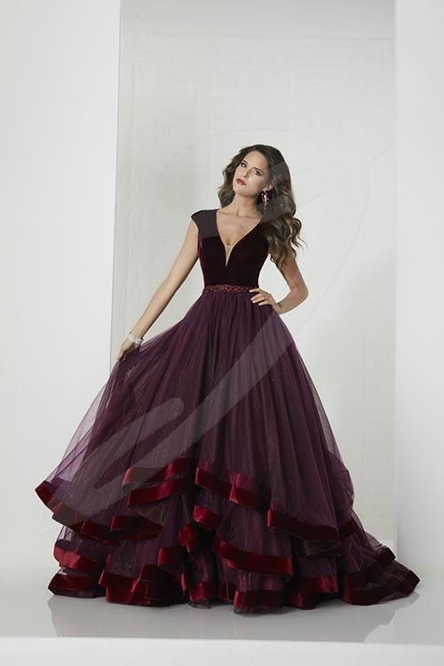 Balletts Bridal - 25644 - Prom by Jacquelin Bridals Canada - Elegance Designed style, Deep V-neckline with cap-sleeves, Velvet bodice and beaded waistband. Layer tulle and Sparkle tulle with velvet edges hem ball gown skirt. Open back with center zipper, sweep train.