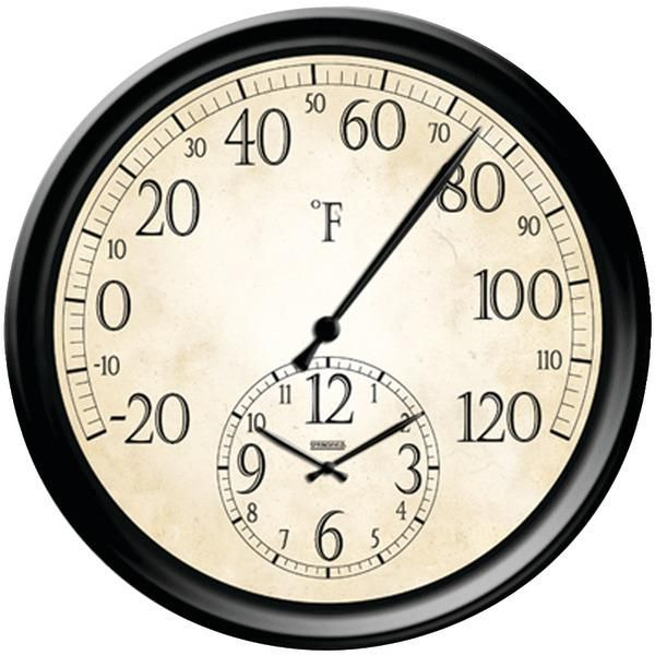"""SPRINGFIELD 91575 14"""" Decorative Thermometer with Clock"""