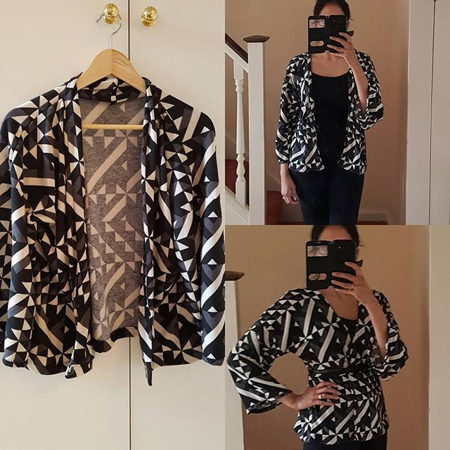 Sew Over It Kimono Jacket complete! Made in a medium weight jersey material. Love it! Brilliant pattern!!