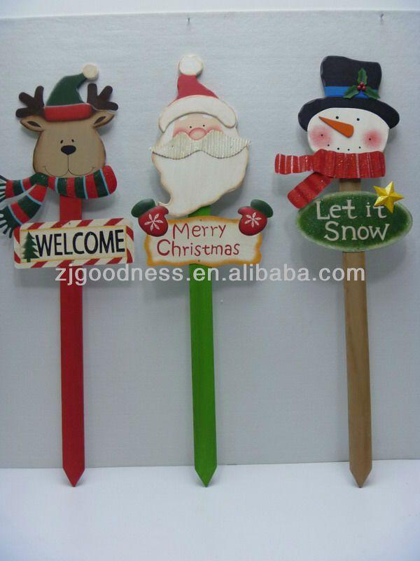 Buena venta 36''h muñeco de nieve santa claus decorativos ciervos patio jardín estaca de madera, 3 estilos-imagen-Placa-Identificación del p...