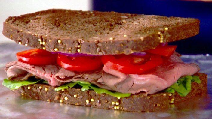 Roast beef sandwich with watercress and horseradish mayonnaise