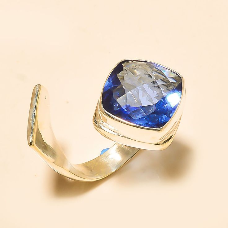 Designer Tanzanite Quartz 925 Sterling Silver Jewelry Ring Adjustable