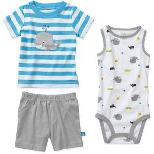 Child of Mine by Carters Newborn Boys' 3 Piece Whale Shirt, Bodysuit and Pant Set...cute summer outfit