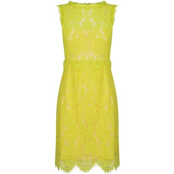 Darling Lois Lace Dress (940 MXN) ❤ liked on Polyvore featuring dresses, reversible dress, lace formal dresses, lace dress, yellow cocktail dress and formal wear dresses