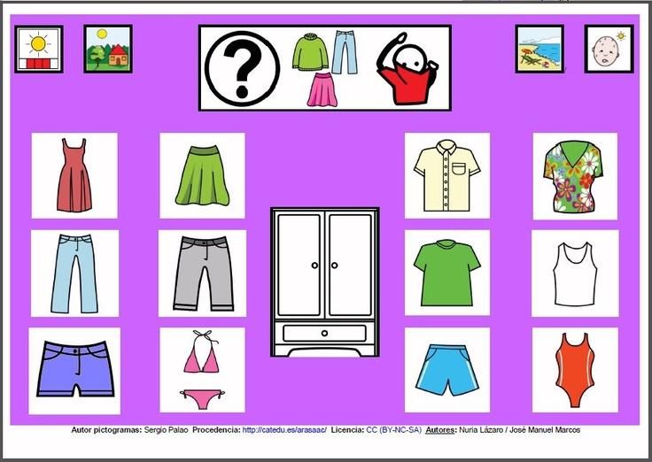 MATERIALES - Tableros de Comunicación de 12 casillas.    Tablero de comunicación de doce casillas sobre ropa para el calor.    http://arasaac.org/materiales.php?id_material=224
