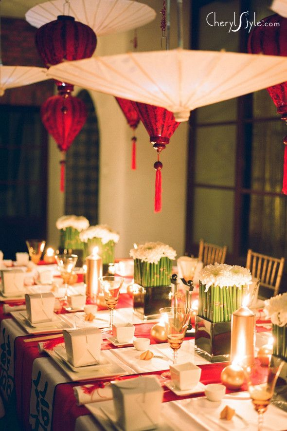 Sushi Party!  or Christmas Party featuring Asian food...White umbrellas with Red Lanterns.  I've seen these white umbrellas for $5 @ Benicia Fairs,  Red tassel Lanterns or use Red Ball Paper Lanterns with Red tassels hanging below...