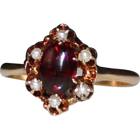 Antique 14k Gold Victorian Garnet Carbuncle Cabochon Seed Pearl Ring, Size 8.75