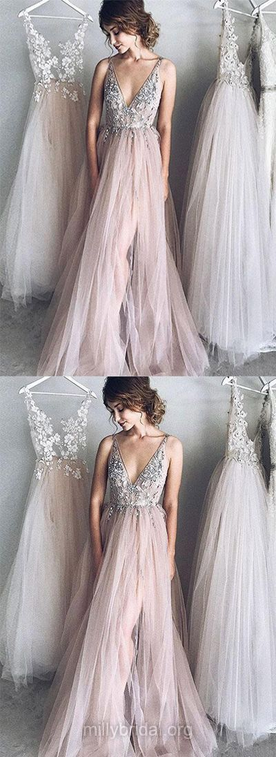Long Prom Dresses, Princess Prom Dresses V-neck, 2018 Prom Dresses Tulle, Girls Prom Dresses Beading, Modest Prom Dresses Backless