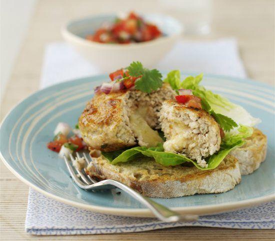 Phil Vickery's Gruyere Stuffed Turkey Burgers with TomatoRelish - Healthy, Tasty & Easy Recipes on a Budget - Gourmet Mum