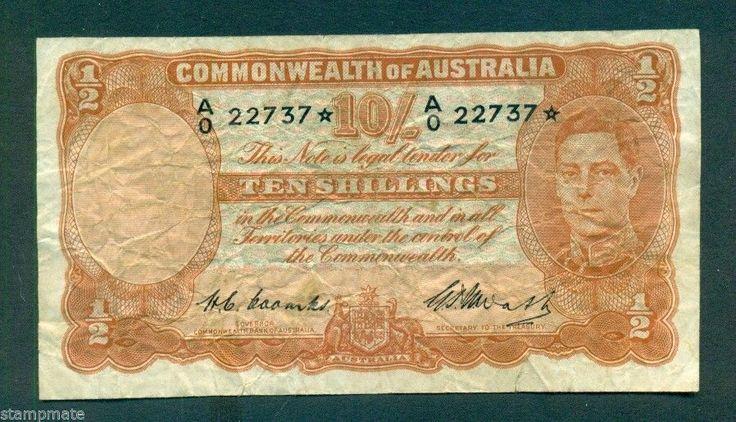 AUSTRALIA STAR PREDECIMAL BANKNOTE 10 SHILLINGS STAR R14S F/VF V UNC $40,000