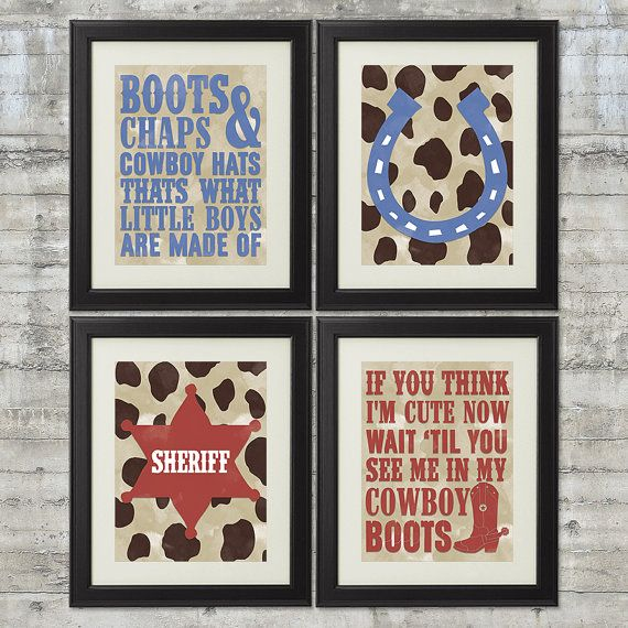 Cowboy Nursery Decor Western Nursery Art Set of 4- 8x10 Prints Thats What Little Boys Are Made Of - Wait Till You See Me In My Cowboy Boots