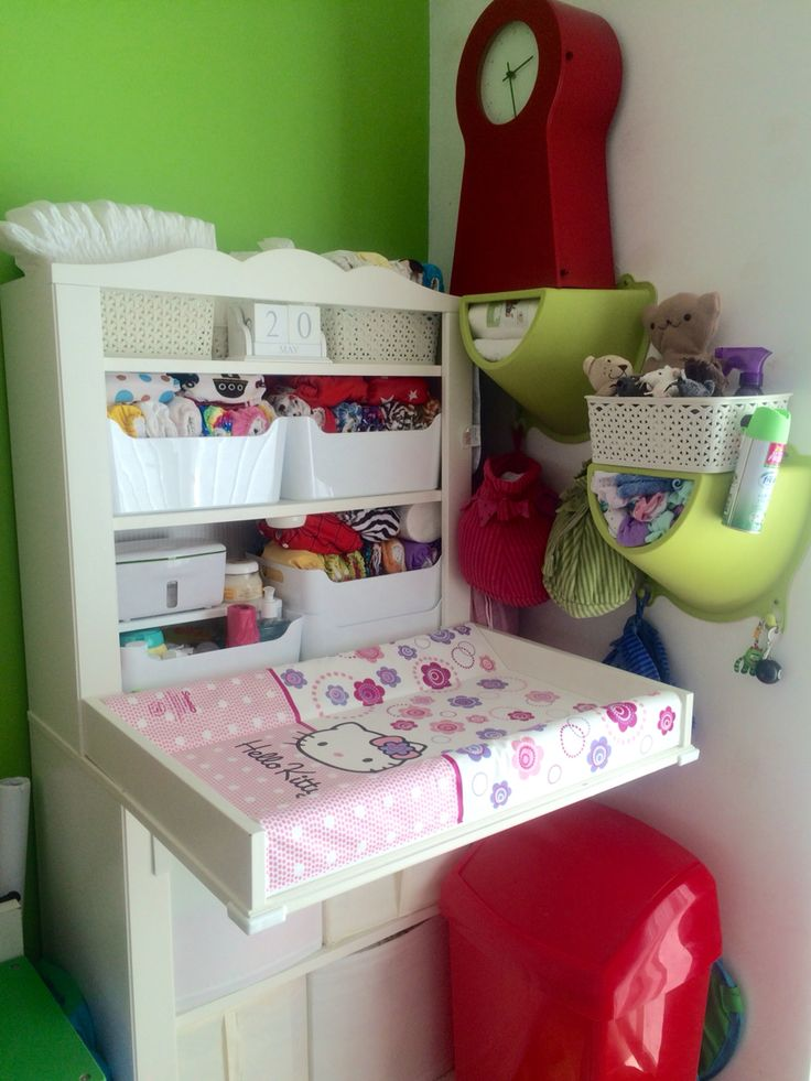 My ikea HENSVIK changing table, finally completed with disposable AND washable nappies/diapers.