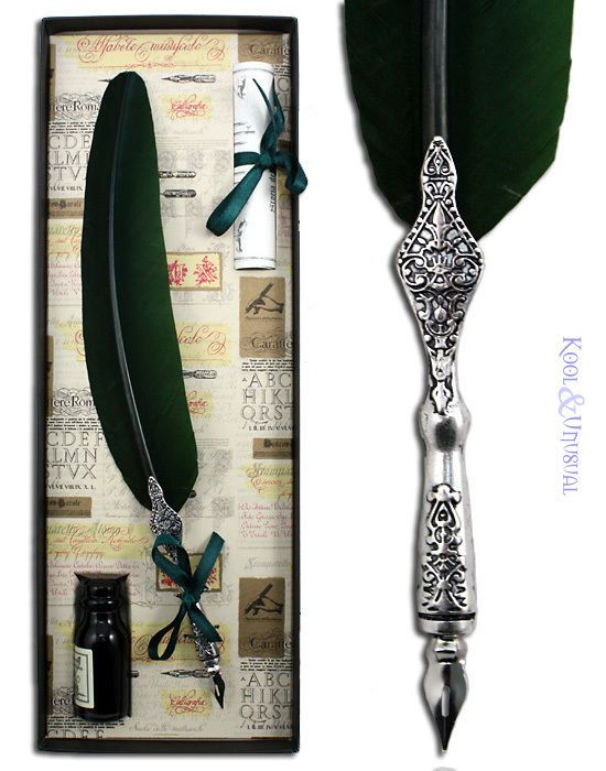 Love the metal design!!!! Large DARK GREEN Italian Feather QUILL Pen and Ink