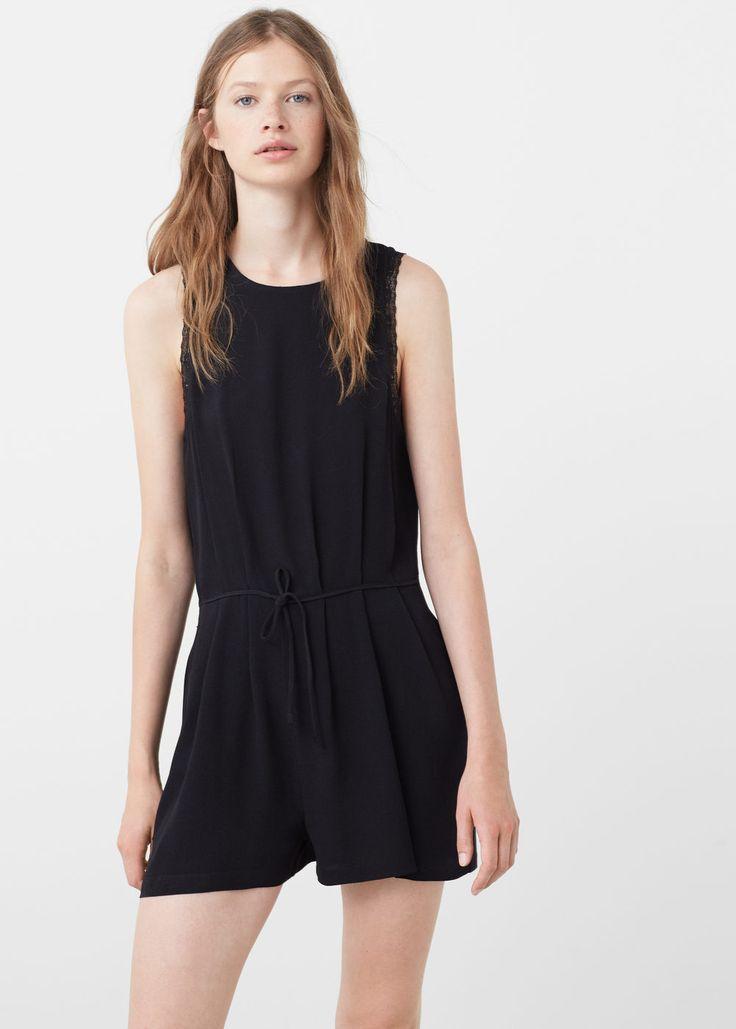 Lace appliqué jumpsuit -  Women | MANGO USA