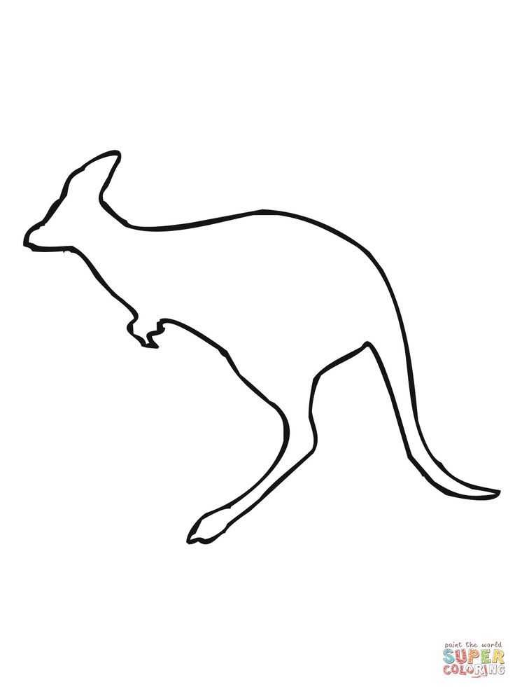 Leaping Kangaroo Outline Coloring Page Supercoloring Com