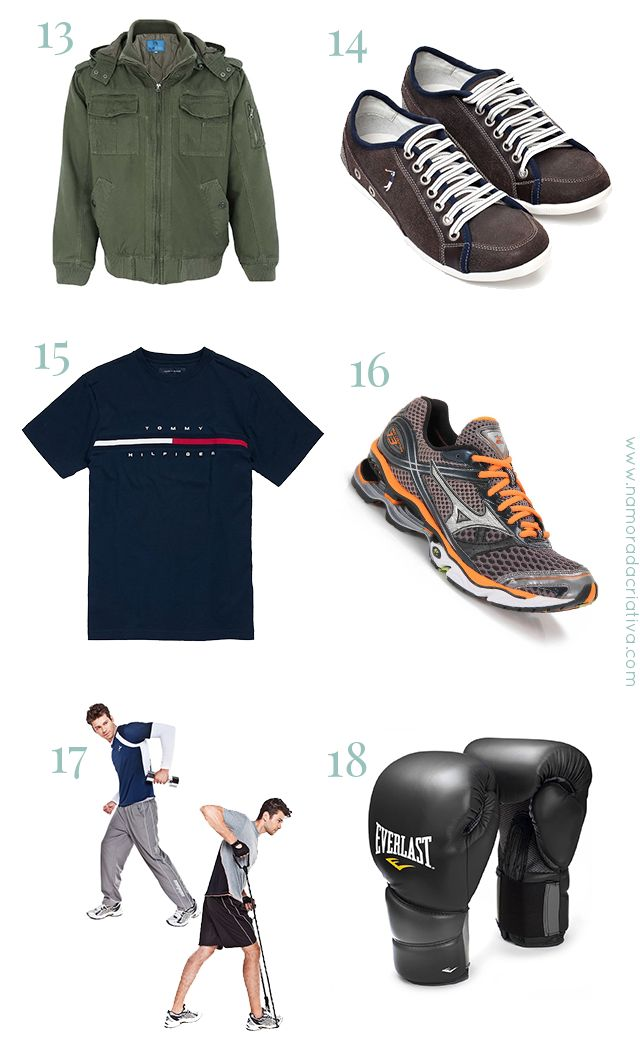 PresentesNatalNamorado_2  13. Jaqueta de frio  14. Calçado casual  15. Camiseta  16. Tênis esportivo  17. Roupa de malhar  18. Itens esportivos (peças de skate, capacete, óculos de natação, luvas de boxe etc)