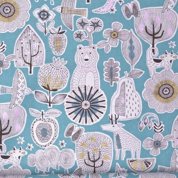 Bear, Deer, Cat, Bird Fabric