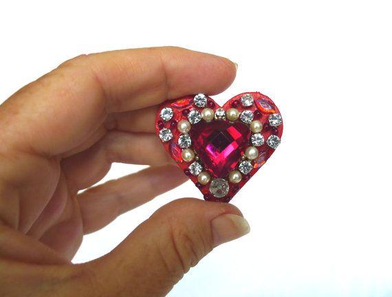 kleines Herz Dekoration rot silber mit Strass und von LonasART