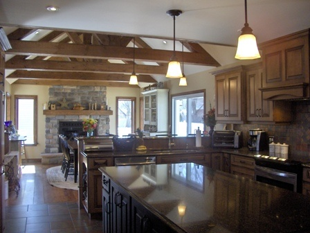 Proper Renovations Great Room Addition Open Concept Kitchen Dining Fireplace