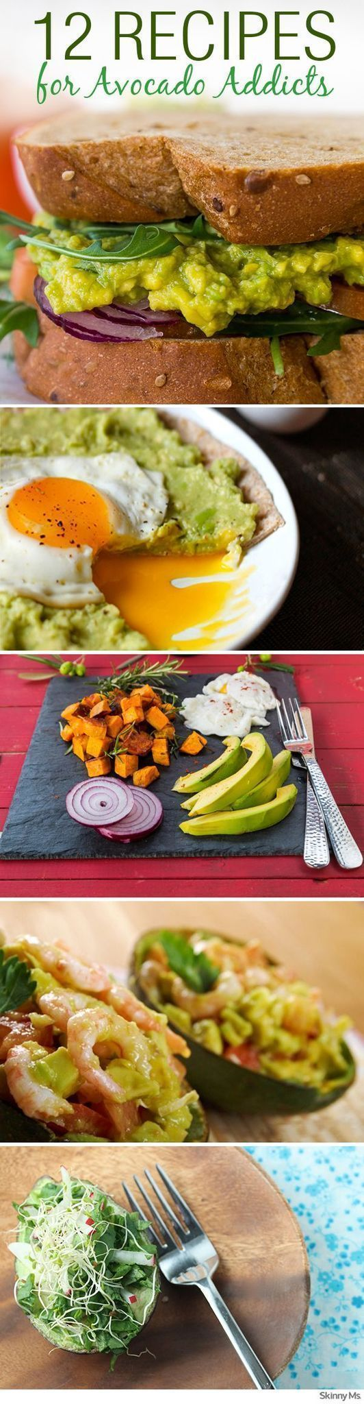 I know I am one of them: an Avocado Addict!! Try these 12 Recipes for Avocado Addicts. #SkinnyMs