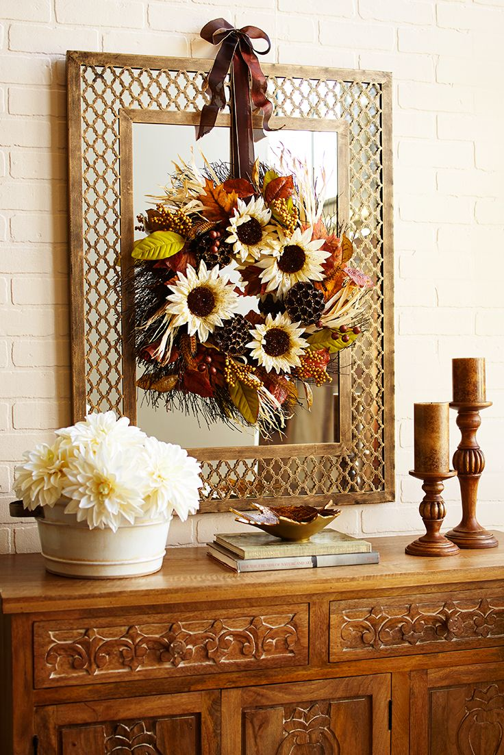 Meet A Handcrafted Pier 1 Wreath That Lifts Your Spirits Next To Subdued Honeycomb