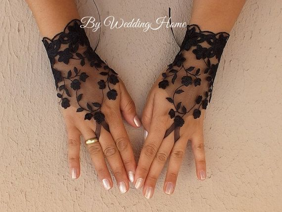 Black tulle lace gloves embroidery bridal wedding fingerless burlesque Halloween, body tattoo romantic bridesmaid glove