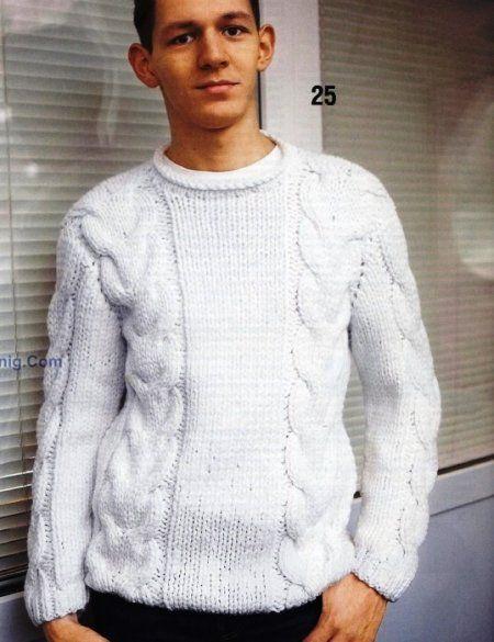 suéter de los hombres con el patrón de trenza