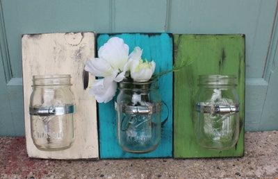 Mason Jar Wall Vase - $14.99. http://www.bellechic.com/products/935b6f6f63/mason-jar-wall-vase