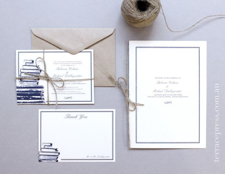 Rebecca & Michael's book-inspired invitation, order of service and thank you notes #letterpress #terracepress #wedding #stationery #orderofservice #invitation