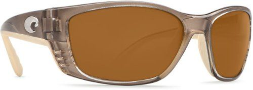 Costa Del Mar Sunglasses - Fisch- Plastic / Frame: Crystal Bronze Lens: Polarized Amber 580P Polycarbonate. Style: Wrap. Frame: Plastic. Lens: Polarized Polycarbonate. Size: 63.5 mm x 18 mm x 130 mm. Gender: Male.
