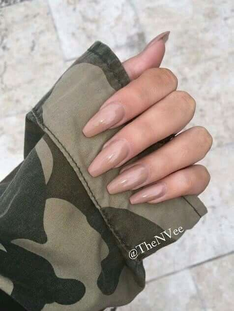 Coffin beige acrylic nails   Nails in 2019   Nails ...