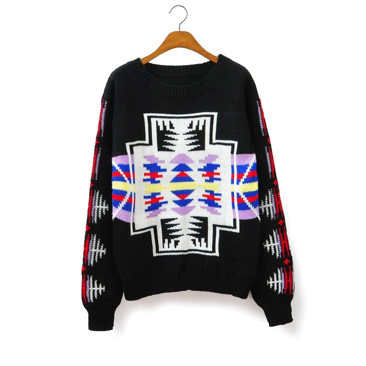 Geometric Cross Stitch Flower Loose Pullover Sweater S012750 $46