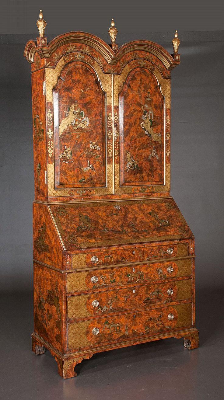 Queen anne chair history - 1830 Exquisite Queen Anne Chinoiserie Lacquered Double Bonnet Top Bureau Bookcase Flip