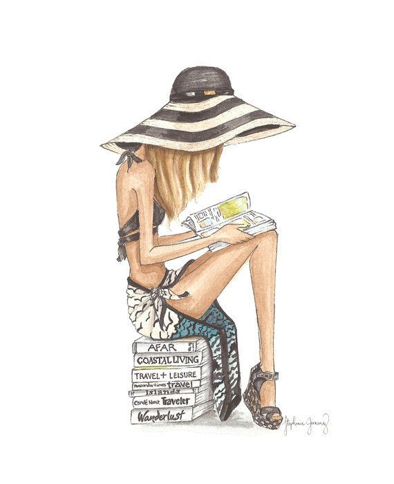 The Reader Series: Beach Bum Watercolor door StephanieJimenez