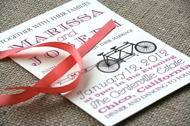 vintage tandem bike wedding invitation, modern design, red, plum, brown, and dark purple  www.sofiainvitations.etsy.com
