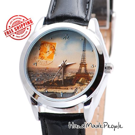 Check out Vintage Paris Stamp Watch, Womens Watch, Ladies Watch, Wristwatch, Vintage Style Leather Watch, Romantic Christmas Gift Idea - Free Shipping on handmadepeople