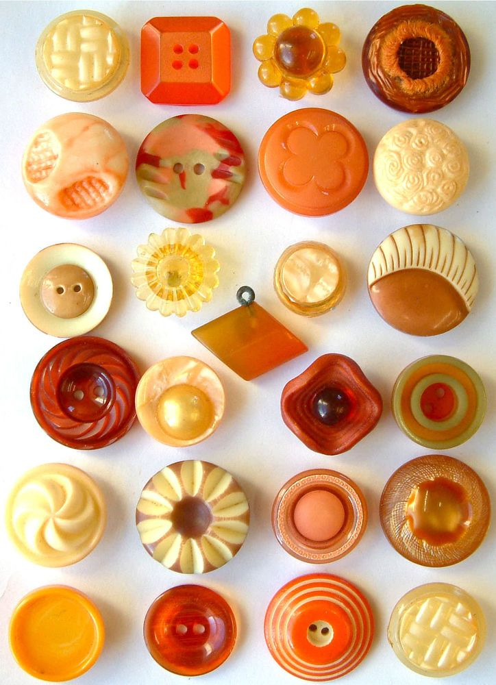 25 Vintage Orange Celluloid & Other Plastic Buttons …