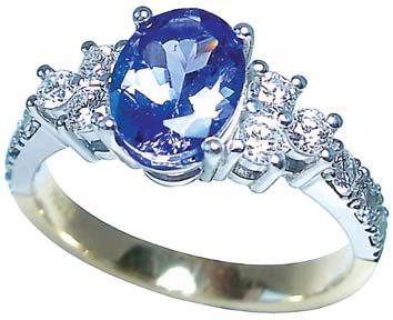 Tanzanite  and diamond ring by Petersens Jewellers, Merviale, Christchurch