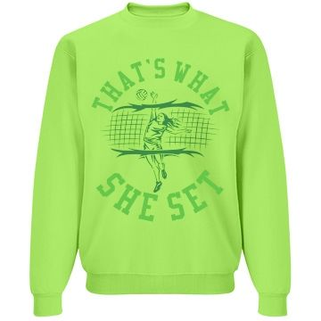 That's What She Set Unisex JERZEES Neon NuBlend Crewneck Sweatshirt #volleyball #sets