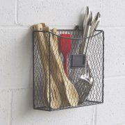 Wall35 Country Style Chicken Wire Basket Wall Mount Kitchen Utensil Organizer Storage Drawer Countertop Organization (Black) ? Image 2 of 3
