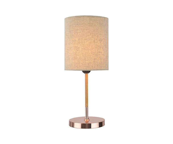 Sutton Table Lamp in Copper/Wood/Beige
