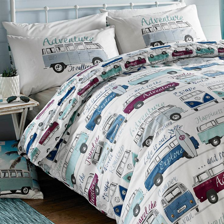 Campervan Gift - Volkswagen Surf's Up Campervan Duvet and Pillow Case Set, (http://www.campervangift.co.uk/volkswagen-surfs-up-campervan-duvet-and-pillow-case-set/)