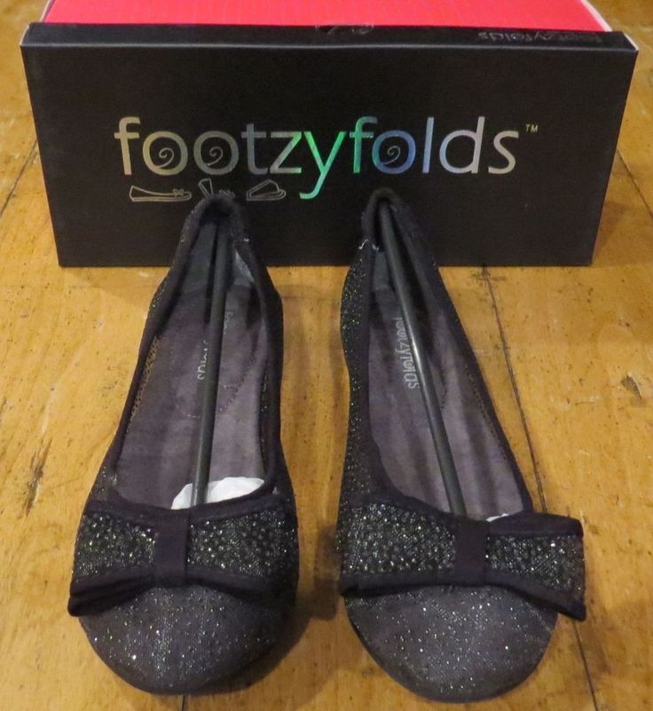 NEW Without Box Women's Footzyfolds Cora Sheer Black Woven Mesh Silver Speckled Ballet Flats with Bow, Size 7 with Storage Bag & Travel Footzypouch, ONLY $29.99 (RETAIL $55) & FREE Shipping
