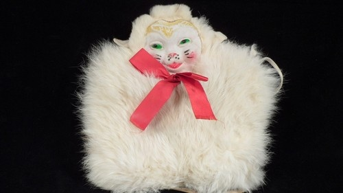 VTG Child's Fur Muff Hand Warmer & Purse w/ Celluloid Cat Or Lamb Face