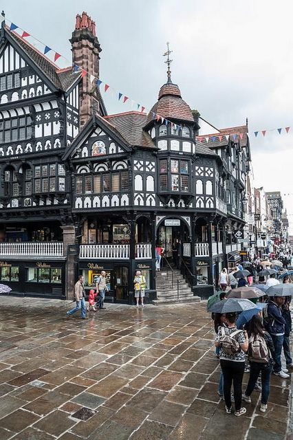 The Rows, Chester - The Rows are continuous half-timbered galleries, reached by steps, which form a second row of shops above those at street level.