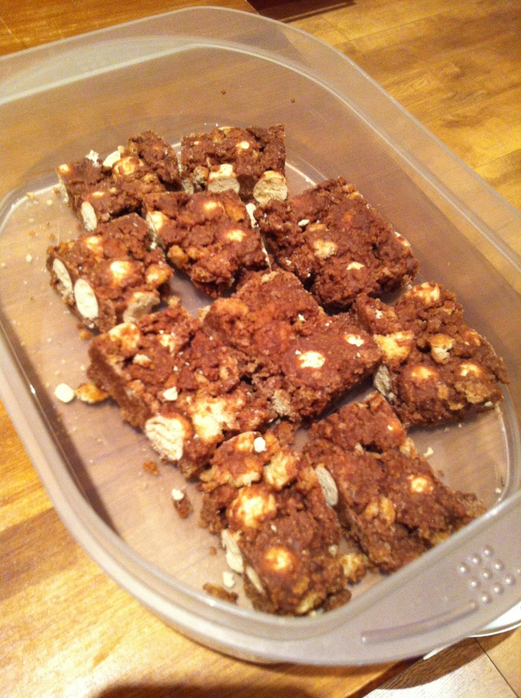 My delicious Malteser tray-bake!!  It's easy to make all you need is: 100g butter-200g Milk/White chocolate-3 tbsp Syrup/Honey- 225g Digestive biscuits- 270g Matesers!  Crush the biscuits ins bag then melt the butter chocolate and syrup in a pan on low heat. When melted add the biscuits then add the Maltesers but make sure not to melt the chocolate. Pour into a small lines baking tray and smooth it down. Finally put in fridge to cool for an hour and enjoy!
