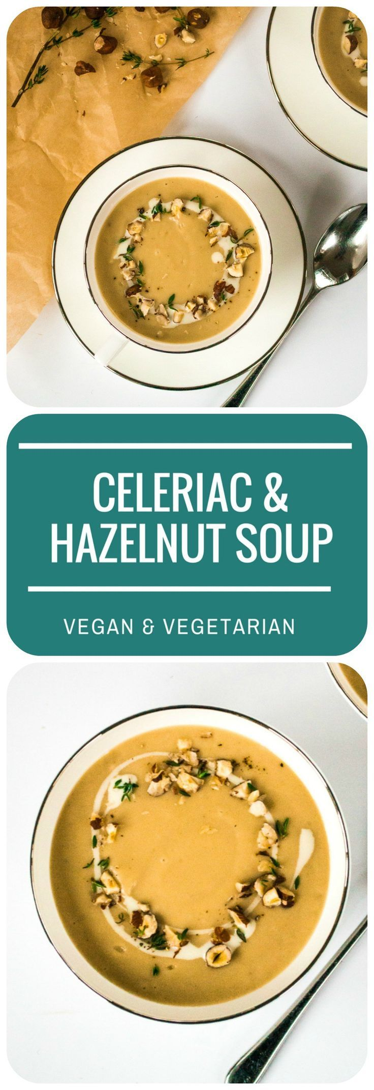 This velvet-smooth and creamy Celeriac & Hazelnut Soup makes an elegant dinner party starter served in pretty teacups, or a hearty lunch with crusty bread! | Vegan & Vegetarian