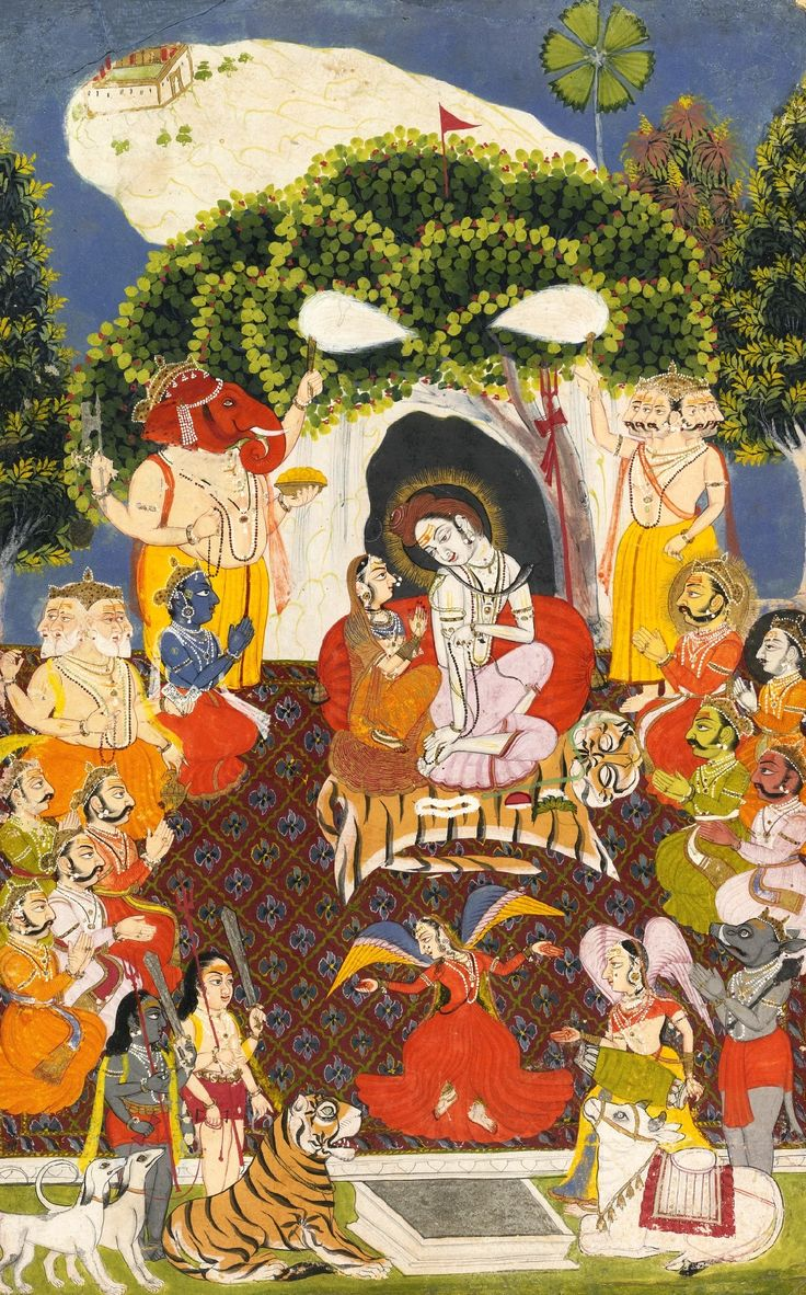 Shiva and Parvati on Kailash. Mewar, circa 1720. The couple is flanked by their sons Ganesha and Skanda. Also in attendance are Brahma, Vishnu, Indra and other celestials together with planetary deities. The group is completed by the couple's bull and tiger mounts seen in the immediate foreground.